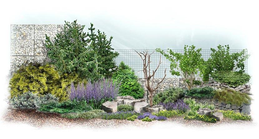 Projekt ogrodu w stylu skandynawskim: Fiordy Norwegii - wizualizacja