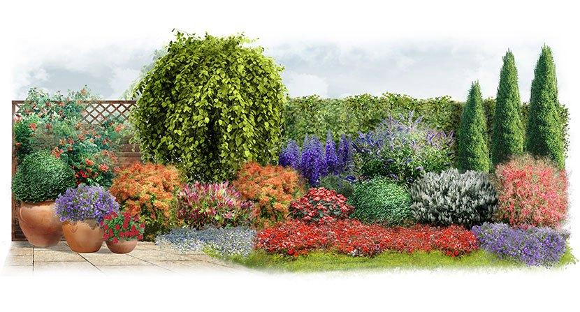 Projekt ogrodu w stylu włoskim: Włoski temperament - wizualizacja